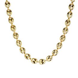 amerikanische goldkette 24k Rabatt (TN-0027) 316L Titan Stahl Schwere Lange Kaffeebohnen Halsketten 60 CM für Männer Kein Verblassen 18 Karat Gold / Weiße Farbe
