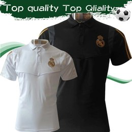 projetos de camisas polo Desconto 2019 Real Madrid camisas pólo 19 20 cabido projeto curto manga curta polo branco preto futebol treinamento uinforms de vendas