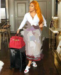 Faldas de moda irregular online-Diseñador de impresión irregular falda plisada manera de las mujeres ocasionales coloridas Apliques mujeres se visten falda elástico de la cintura del verano