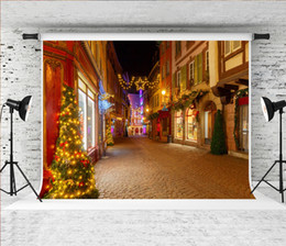 Photos de ville de nuit en Ligne-7x5ft Rêve de Noël Rue Photographie Toile de fond Frech City Colmar Night Shoot Fond pour Xmas Holiday Photo Booth Studio Prop
