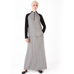frauen baumwolle abaya Rabatt Herbst Winter Baumwolle Abaya Schwarz Grau Sport Langes Kleid Arabisch Ganzkörperansicht Kaftan Türkei Naher Osten Muslimische Frauen Kleid
