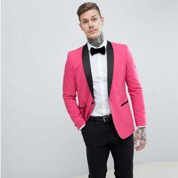 8f67531d443f New Style One Button Rosa Groomsmen Scialle Nero Risvolto Smoking dello  sposo 2 Pezzi Abiti da uomo Matrimonio   Prom. Best Man Blazer (Giacca +  Pantaloni + ...