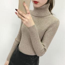 2019 blusas de pescoço de algodão para mulheres 2020 Novo outono inverno Mulheres Camisola de Malha de Gola Alta Pullovers Casual Macio polo-pescoço Jumper Moda Femme Fino Roupas de Inverno FS8225
