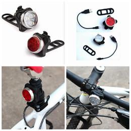 2019 luzes led usb Recarregue a luz da bicicleta usb 3 led head frente traseira luz da cauda com 2 pcs usb cabo de carregamento 2 pcs traps zza664 luzes led usb barato