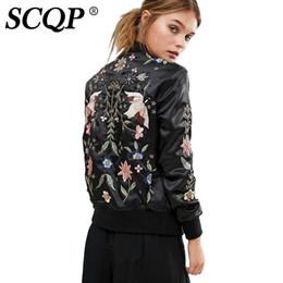 giacca da donna floreale uccello Sconti SCQP Fashion 2017 Giacca da donna Balck Floral Bird Bomber ricamato Autunno Casual Streetwear Donna Cappotti di base