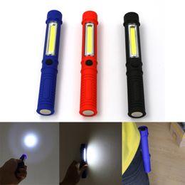 Linternas led magneticas online-COB LED Work Light Repair Mini linterna con base magnética y clip Lámpara de antorcha multifunción para Camping Home Power Tools ZZA1145