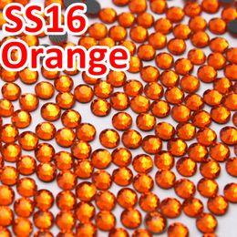 pietre arancioni Sconti SS16 3.8-4.0mm, 1440pcs / Bag Orange DMC HotFix FlatBack Strass, Calore trasferimento caldo fai-da-te indumento di ferro pietre di vetro