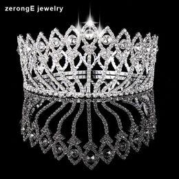 tiara coroa vintage branco Desconto Zeronge jóias Concurso de Beleza Concurso de Beleza Concurso de Estilo Do Vintage Coroa Cheia Do Círculo Tiara Da Menina de Cristal de Alta tiara e coroa