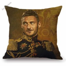 "yellow black white cushion covers Coupons - 18"" Footballer Celebrity Star General Costume Oil Painting Home Decorative Cushion Cover Totti Henry Maradona Sofa Throw Pillow"