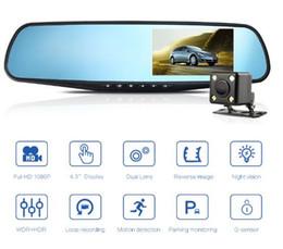Lentes de cámara de video digital online-DVR para coche Lente dual Cámara para auto Full HD 1080 P Grabador de video Espejo retrovisor con vista posterior DVR Dash cam Registrador automático