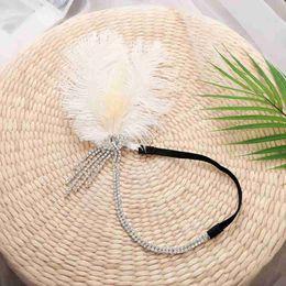 blaue perlengirlande Rabatt Gatsby Bridal Feather Headband Indian Bohemian Headgear Kopfschmuck Frauen Mädchen Kinder