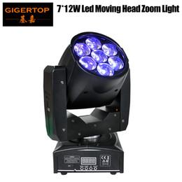 2019 cabeça movendo eua luz TIPTOP 1PCS 95W LED Moving Head Zoom Luz Mini Tamanho 7 * 12W High Power RGBW 4IN1 mistura de cores DMX 16 canais Zoom levou luz fase