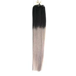 """Ombre hair loop on-line-14 """"16"""" 18 """"20"""" 22 """"24"""" Micro Anel Loop Extensão Do Cabelo Humano 100% Cabelo Humano Em Linha Reta Ombre Piano Cor Micro Links 100g 100 s"""