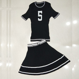 ice belts Promo Codes - Senior Thin Piece Of Ice Intermittent Color Letter 5 Short Sleeve + Knitting Large Pendulum Skirt Knitting Two Piece Skirt Suiton