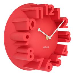 2019 relógios de flores de acrílico Os melhores pulsos de disparo de parede redondos da abóbada do número da arte moderna criativa home da decoração 3D, vermelho 22.5 * 22.5 * 9cm