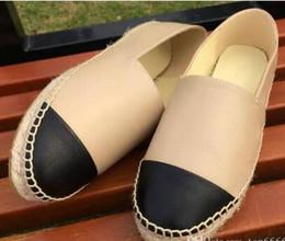 Pattini di tela di canapa più online-qualità calda espadrillas del progettista di marca del cuoio genuino di suole spesse scarpe di tela piattaforma delle donne scarpe di moda appartamenti scarpe taglia 35-42