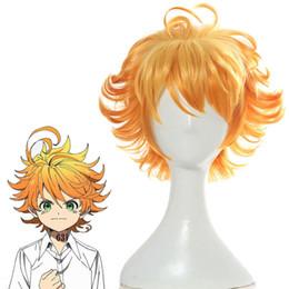 Perucas de laranja curto on-line-O Promised Neverland Emma Orange Peruca Cosplay Curto Ondulado Peruca Cheia Do Cabelo