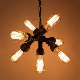 Industria vintage lámpara de hierro colgante salón pub bar club restaurante café luces retro loft araña tubo de agua faro LLFA desde fabricantes