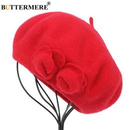 chapéu francês do beanie Desconto BUTTERMERE Boina De Lã Francês Beanie Chapéus de Inverno Para As Mulheres Flor Vermelha Cap Senhora Senhora Boinas Femininas Óssea Tocas Painter Hat