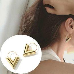 pendientes en forma de v Rebajas 6 Pares Nueva moda simple de metal cuelga los Pendientes Simple Metal Wind Letter V Shape pendientes para Mujeres Regalo