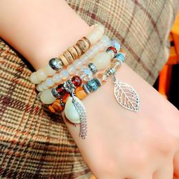 5pcs Mehrschichtige Liebe Herz Armreif Perlen Armband Schmuck Armband verknotet