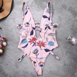 Costume da bagno donna alta collo online-Womens Sexy Scollo a V a vita alta Monokini Vintage Boho Floral Printed Tankini Criss Cross Fasciatura Hollow Backless Swimsuit