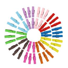 Mini pino de roupa de madeira on-line-Multi cor Mini Pregadeiras De Madeira De Madeira Roupas clipe Foto Papel Peg Pin Enxerto De Clipes 3.5 CM