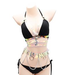 Сексуальные дамы панк готический цепи металл бюстгальтер ремни Радуга ПВХ бондаж талии пояс тела ночной клуб партии танцы ювелирные изделия от