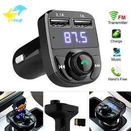 ricevitori universali Sconti MP3 Player FM Transmitter Vitog Aux modulatore Car Kit vivavoce Bluetooth Car Audio Receiver con il caricatore dell'automobile 3.1A Quick Charge Dual USB