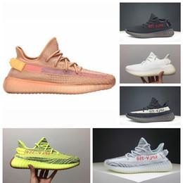 Tênis listrados on-line-2019 adidas yeezy 350 V2 off white boost sneakers Especial350 sapatilha nova kanye xi tênis cinza laranja listrado zebras crescer preto vermelho massa qualidade de cor tênis 36-46