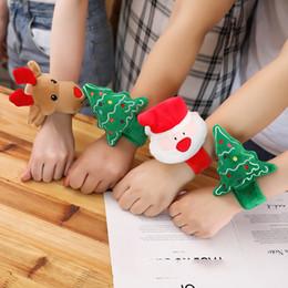 Pulseiras de santa on-line-35 centímetros / 14inches Natal Plush Light-Up Toys Papai Noel Moose Árvore Pat-Pulseira Pulseira com música e LA192 brinquedo Luz bebê Crianças Crianças