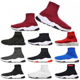 2019 calcetines de estilo de zapatos Nuevo estilo Sock Shoe diseñador de zapatos para hombre mujer Speed Trainer moda de lujo negro blanco azul brillo Flat Brand para hombre entrenadores zapatillas de deporte 36-45 rebajas calcetines de estilo de zapatos
