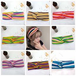 Incroci arcobaleno online-8styles Bowknot Croce Knit fascia doppio strato a righe arcobaleno elastica Hairband Accessori per capelli fascia larga regalo di favore di partito FFA2983-1