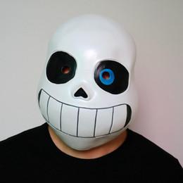 Cos máscara online-Kid Undertale FRESCO ESQUELETO Sans Cosplay Látex Máscara de Disfraces de Halloween del cráneo Cos Sombrero Niño Niña Carnaval Cosplay