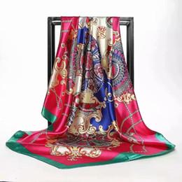tela bordada de terciopelo rojo Rebajas Bufanda de mujer de verano Estampado de seda Foulard Satén Pañuelos de cabeza cuadrada Mujeres Chales de diseñador de lujo 90 * 90 cm Bandana Hijab musulmán grande JHG07