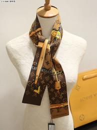 Cinto de gravata de seda on-line-Top marca de qualidade de seda dupla camada headband impresso tie lenço amarrar multi-purpose das mulheres marca saco decorativo cinto exclusivo atacado L1848