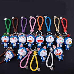 doraemon key Promo Codes - New Braided Leather Doraemon Dolls Keychain Chinese Zodiac Signs Design Key Chain for Women Key Holder Bag Charms Accessories