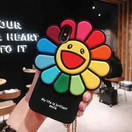 hermosos celulares Rebajas Hermosa girasol 3D de dibujos animados de silicona suave caso del teléfono celular contraportada Shell Correa para iPhone 6 6s 7 8 / Plus X XS XR XS Max