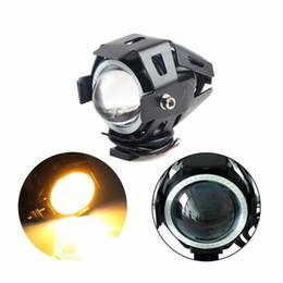 Ha portato cannone leggero online-U7 del motociclo LED del faro impermeabile ad alta potenza Luce spot Cannon faretti con Angel Eyes (giallo) 3 Modalità Strobe