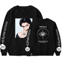 felpa esotica Sconti Kpop EXO PLANET # 5 Album Sweatshirt Donna Uomo Streetwear Fleece Warm Hooded Pullover EXO PLANET # 5 Hoodie Hip Hop Sweatshirt SH190914