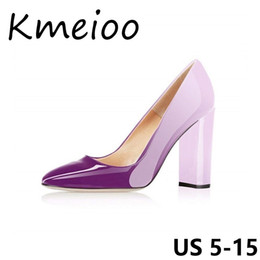 f9261020b4b Kmeioo US 5-15 Women s Sexy Patent Leather Pointed Toe Block Heels Pumps  Gorgeous Evening Party Stiletto Shoes Sexy Women Pumps  9527 discount  stiletto ...