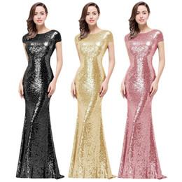 vestido de noche de bodas blanco largo Rebajas Vestidos de dama de honor de champán dorados negros Lentejuelas Vestido de fiesta Vestido largo de noche con lentejuelas llenas para el banquete de boda Vestidos de fiesta con capucha