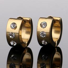 2019 ganci di cristallo d'oro Orecchini di cristallo in acciaio inox borchie di cristallo piercing all'orecchio orecchini a gancio oro nero moda Hip Hop Jewlery DROP SHIP 170854 sconti ganci di cristallo d'oro