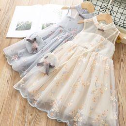 Bordado vestido gaze on-line-Crianças roupas de grife meninas Flor bordados Vestido crianças Vest Gaze vestidos de Princesa 2019 Moda verão Boutique Roupas Infantis C6631