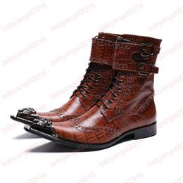 metal botas apontadas trabalho Desconto Homens de metal de luxo apontado toe botas de cowboy ocidental ankle boots sapatos de vestido de casamento homens carreira de trabalho botas de moda