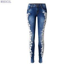 Vaqueros de encaje de flores online-ROSICIL 2016 Moda de Encaje de Las Mujeres Jeans Hot Sexy Hollow Out Flower Hook Pies Apretados Lápiz Pantalón Flaco Hot Woman Jeans