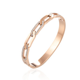 titanium bangle rose gold Promo Codes - New inlaid diamond rose gold titanium steel bracelet female, twist chain bracelet, twist stainless steel jewelry wholesale