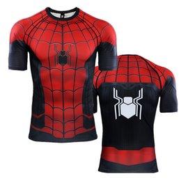 Spinnenmann polyesterhemd online-Spider Man weit weg von zu Hause 3D gedruckte T-Shirts Cosplay Peter Parker Wunder T-Shirt Tops Kurzarm Kostüm