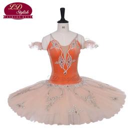 Laranja tutu saia menina on-line-Orange adulto profissional ballet tutu trajes mulheres o desempenho yagp stage desgaste meninas ballet saia apperal