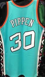 2019 gilet viola NCAA Cheap 1996 Scottie Pippen Jersey # 30 Mitchell Ness Teal Mens verde viola cuciture Mens Vest t-shirt Basketball maglie gilet viola economici